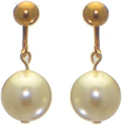 LINDA 12mm gold plated swarovski elements cream crystal clip on earrings