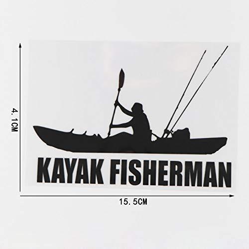 Pegatinas de coche 17.2 CM * 12.8 CM Kayak PescadorVinilo EtiquetaEngomada DelCoche Decoración Negro / Plata 2 uds