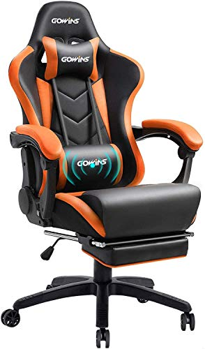 GOWINS オフィスチェア ゲーミングチェア デスクチェア マッサージ機能 オットマン リクライニング ひじ掛け パソコンチェア 椅子 ゲーム用チェア イス 耐荷重 150kg 一年無償部品交換保証 (GOD39A-ORANGE-1)