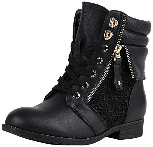 SCARPE VITA Damen Stiefeletten Boots Schnürstiefel Spitze Used Look Schuhe 160302 Schwarz Spitze 41