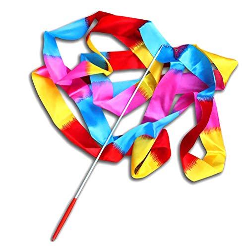 4M Lange Regenbogen-Gymnastikband Satin Ribbon Tanzband mit Stab Wirbelnden Rod Stick für Kinder