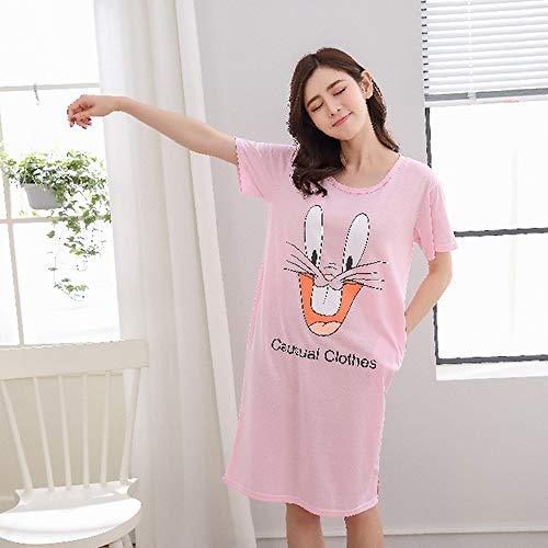 Pijamas de Manga Corta de Verano para Mujer, Pijamas de cartón de Tela para el hogar, Pijamas Casuales para Mujeres, Pijamas para niñas y Damas 2 L