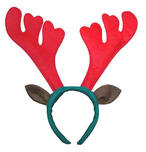 erdbeerclown - Elchhaarreif X-mas Weihnachts Kostüm Kopfbedeckung Renttierohren und Hörner , Rot