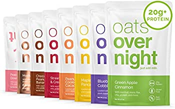 Oats Overnight - Party Pack Variety (16 Meals) High Protein, Low Sugar Breakfast Shake - Gluten Free, Non GMO Oatmeal (2.7oz per meal)