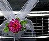 Organza Corazón Novia Pareja Rose Decoración Auto Joyas Boda Coche Wedding Deko Guirnalda automóviles (Violeta/Blanco)