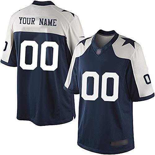 NCNC Camisetas de fútbol Bordadas para Hombres Dallas Cowboys, Nombre y número Personalizados, Camiseta de fútbol Americano, versión para fanáticos de la Ropa Deportiva (S-4XL)-Tibetanblue2-4XL