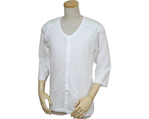 紳士用 キルト八分袖前開きシャツ(プラスチックホック式) 白 S W470 (ウエル) (返品不可)
