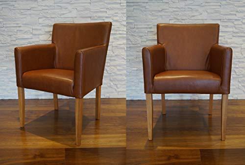 Quattro Meble Breite Echtleder Esszimmerstühle Glanz Braun Leder & Massivholz Stühle Kross Arm Lederstühle Sessel mit Armlehnen Echt Leder Esszimmer Stuhl
