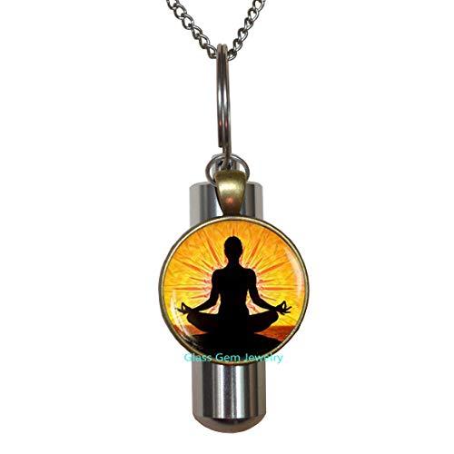 URN de meditación para yoga, regalo de joyería espiritual, amuleto budista, urna de cremación, collar de urna de cremación, urna de cúpula de cristal, Q0010