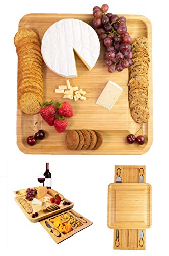 Premium Cheese Board and Knife Set - Two Hidden Drawers, 4 Stainless Steel Cutlery Set, Charcuterie Board - Large Bamboo Cheese Board Set - Perfect Gift For House Warming - Christmas Present