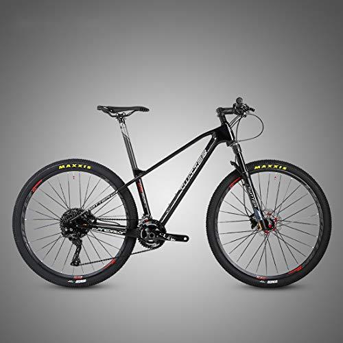 MICAKO Bicicleta Montaña 27.5/29'', M8000-22/33 Velocidad, Doble Freno Disco, Full Suspension, Fibra de Carbon,Negro,27.5inch*17.5inch