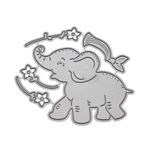 Qiman Elefant Blume, Metall Stanzformen Schablone, Scrapbooking, DIY Album, Briefmarke, Papierprägung