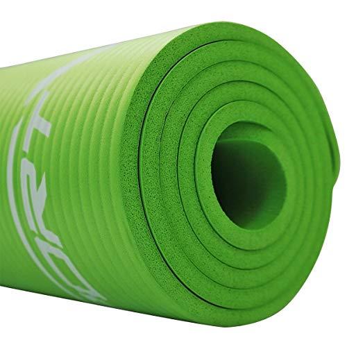 SportVida NBR Tappetino antiscivolo extra spesso per yoga con morbida schiuma, tappetino da ginnastica per la casa, allenamento con tracolla 180 x 60 x 1 cm, esercizi di yoga (verde)