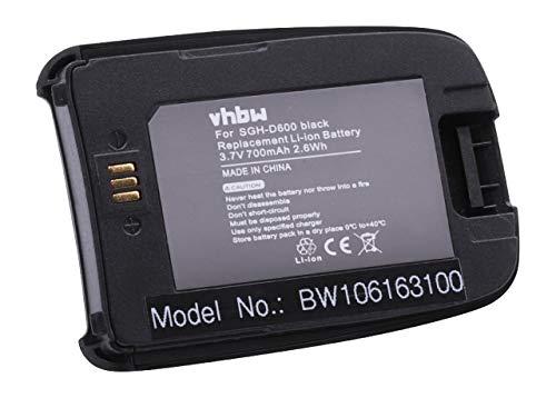 vhbw Akku schwarz passend für Samsung SGH-D600 Handy Handy Ersatz für BST4389BE (700mAh, 3.7V, Li-Ion)