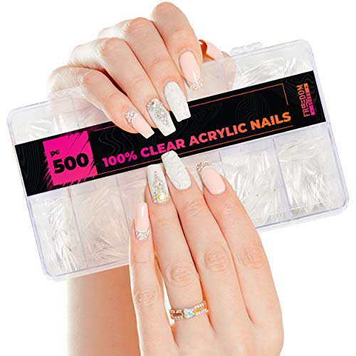 Fake Nails (500 Pieces), Nail Tips, Acrylic Nails (10 Sizes, 50 each), Clear Nail Tips, (Women and Girls) Acrylic Nail Tips, Coffin Nail Tips (DIY Professional Quality) Coffin Press on Nails