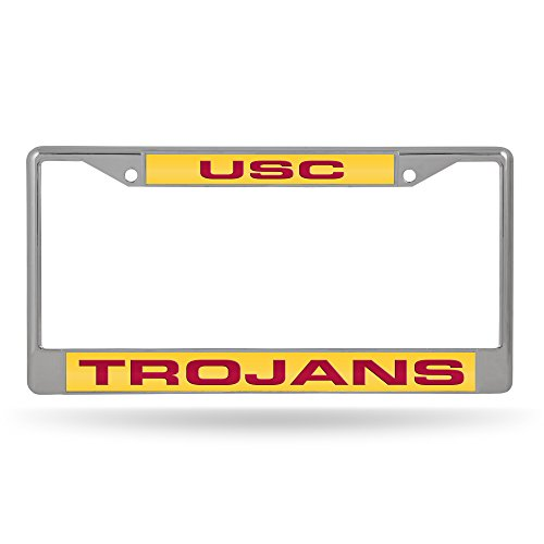 Rico Industries Fan Shop NCAA USC Trojans Laser Cut Inlaid Standard Chrome License Plate Frame, Team Color, 6 x 12.25-inches