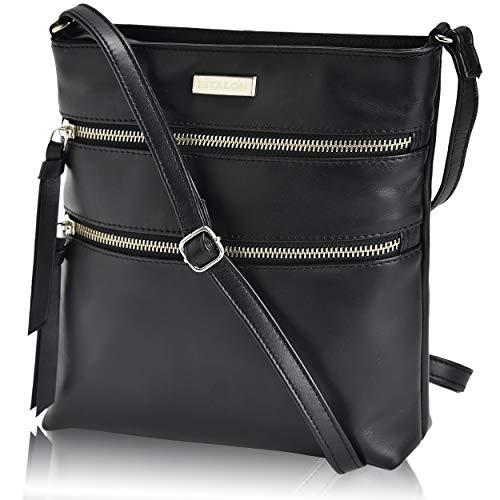 Crossbody Purse Black Genuine Leather - Small Shoulder Bag for Women