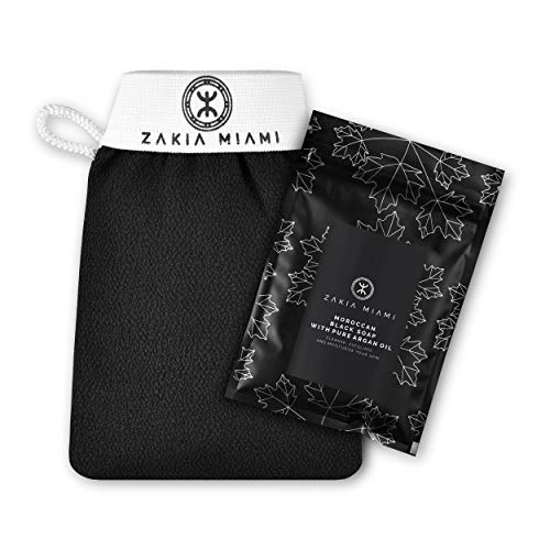 ZMCARE Original Moroccan Hammam Kessa Glove - Exfoliating Mitt for Smoother Skin - Body Exfoliator Body Scrub Glove - Morocco Shower Exfoliate Mitt - Bath Exfoliation Scrubber + Moroccan Black Soap with Pure Argan Oil (3.5 oz/100 grams) – Cleanse, Exfoliate and Moisturize Your Skin