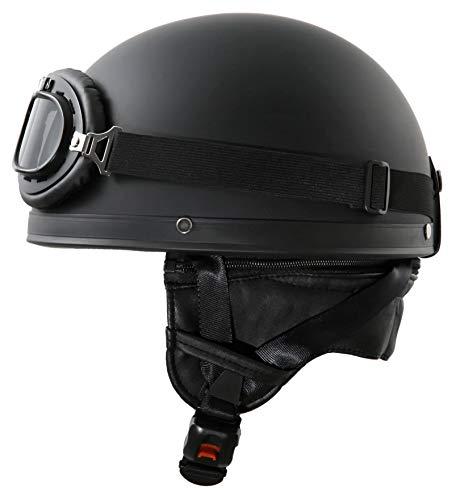 ATO-Helme Oldtimer Motorradhelm mit Brille Größe: XS 53/54cm, Schwarz matt