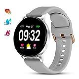GOKOO Montre Connectée Femmes Homme Smartwatch Sport Bracelet Connecté Étanche Bluetooth Montre Intelligente Cardiofréquencemètre Podomètre Calorie Fitness Tracker d'Activité pour Android iOS (Argent)