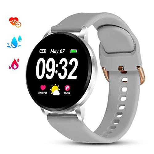 GOKOO Smartwatch Donna Uomo Metal Silicone Strap Argento Bluetooth Orologio Tracker IP67 Impermeabile Full Touch Screen Cardiofrequenzimetro e Contapassi e Calorie da Polso Compatibile Android e iOS
