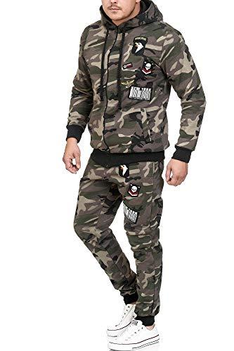 Violento Herren Jogging-Anzug   USA-Patches 685 (M, Grün Camouflage)