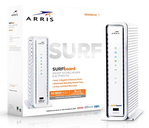 ARRIS SURFboard SBG6900AC Docsis 3.0 16x4 Cable Modem/ Wi-Fi AC1900 Router - Retail Packaging -...