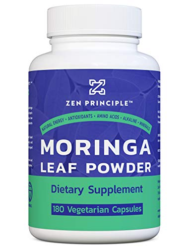 180 Capsules Organic Moringa Oleifera. Ultra-Premium. Provides an All Natural Energy Boost and Multi-Vitamin. A Raw Superfood, Vegan, No GMO and Gluten Free.