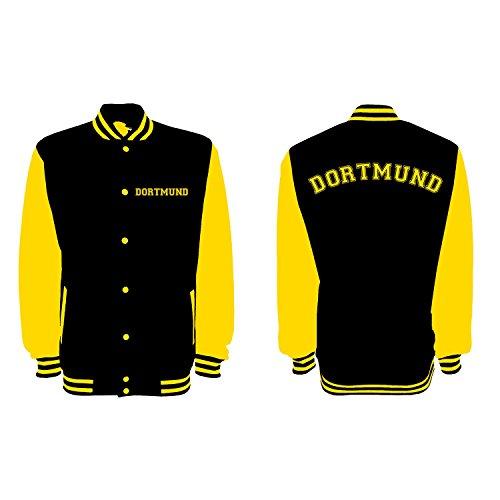 Shirt-Panda Unisex College Jacke Dortmund Fan - Brust & Rücken Bedruckt - Baseball Jacke Damen Herren XS-3XL Jet Black/Sun Yellow 3XL