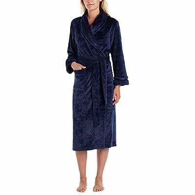 Carole Hochman Soft Plush Fleece Wrap Bath Robe with Wave Detail for Women