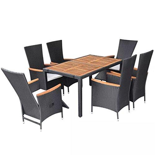 SSITG Garden Furniture 13 Pieces Poly Rattan Acacia Wood XXL Dining Set