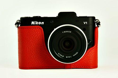 ニコン Nikon 1 V1用本革カメラケース&バッテリーケース付ストラップ 各種カラー (カメラケース&ストラップ&バッテリーケース, レッド)