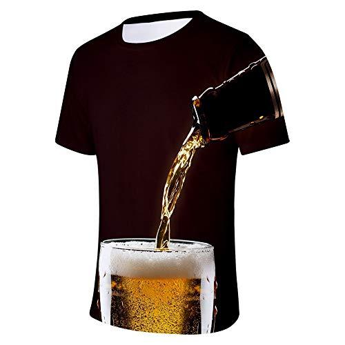 Sylar Camisetas Hombre Manga Corta Camisetas Hombre Verano 3D Digital Unisex Camisetas De Manga Corta Impresión De Cerveza para Festival De La Cerveza Camisetas Hombre Cuello Redondo