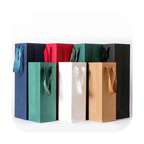 Fun-boutique - Sacchetto di carta da vino, resistente, con scatola regalo di nastro in nylon, sacchetto a doppia bottiglia, 35 x 9 x 9 cm