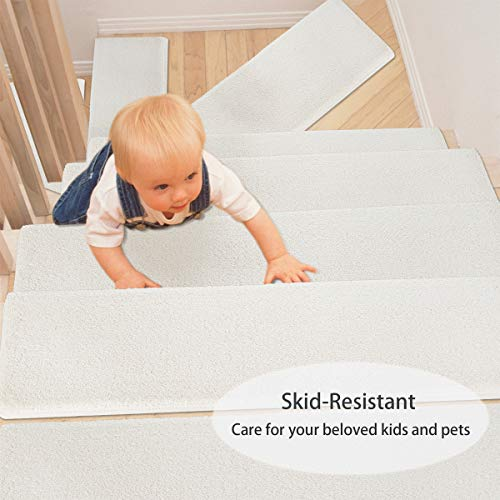 "PURE ERA Bullnose Carpet Stair Treads Set of 14 Non-Slip Self Adhesive Ultra Plush Soft Pet Friendly Skid Resistant Tape Free Washable Reusable Off White 9.5"" x 30""x1.2"""