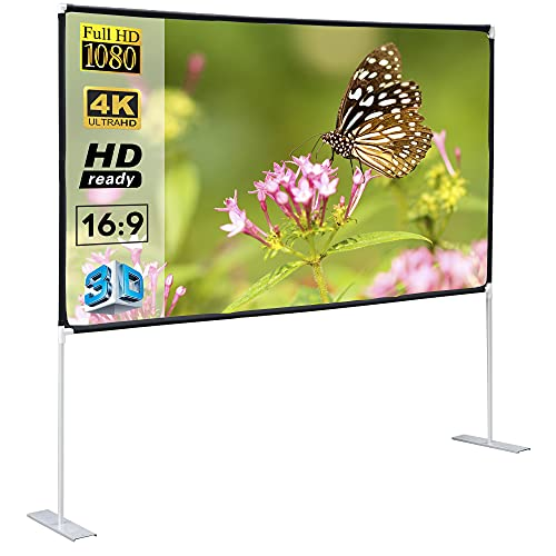 SUPER DEAL 100'' Portable Projector Screen with Stand Projection 16:9 4K HD Rear Front Foldable Projection Movies Screen for Indoor Outdoor Theater