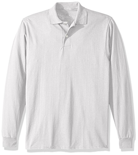 Jerzees mens womens Spot Shield Long Sleeve Sport Polo Shirt, White, Small US