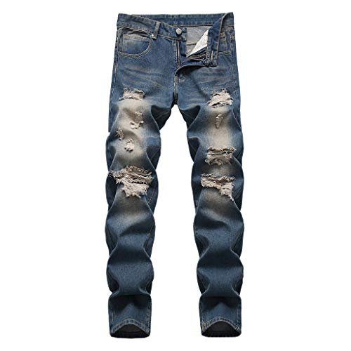 ✿HebeTop✿ Men's Ripped Skinny Distressed Destroyed Slim Fit Stretch Biker Jeans Pants with Holes