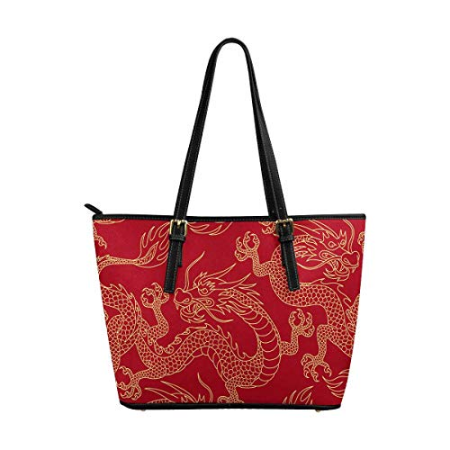 INTERESTPRINT Chinese Dragons Fighting Women Totes Top Handle HandBags PU Leather Purse