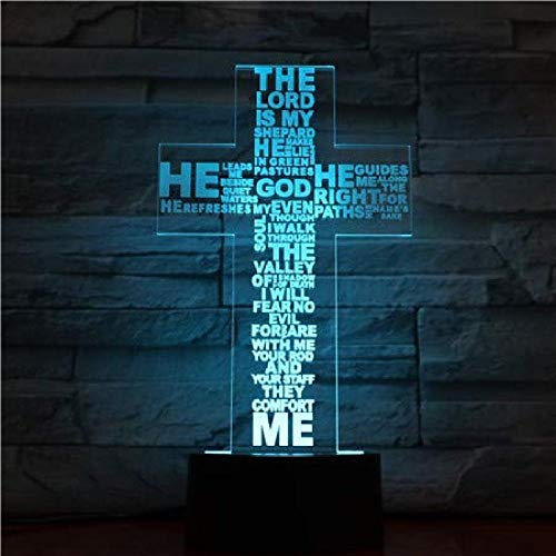 3D Night Light Jesus Christ Cross Shaped USB 3D LED Night Light Gifts Desk Crucifix Table Lamp Bedroom The Lord is My Shepherd