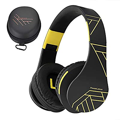 PowerLocus Bluetooth Over-Ear Headphones, Wireless Stereo Foldable Headphones Wireless and Wired Headsets with Built-in Mic, Micro SD/TF, FM for iPhone/Samsung/iPad/PC (Black/Yellow) from Powerlocus