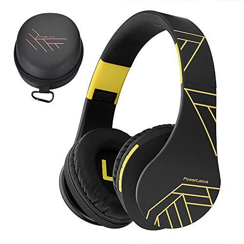 PowerLocus Bluetooth Cuffie Auricolari Pieghevoli, Over Ear Bluetooth Headphones Stereo Senza Fili Cuffie o Collegate Headset con Microfono, Micro SD/TF, FM per iPhone/Samsung/iPad/PC (Nero/Giallo)