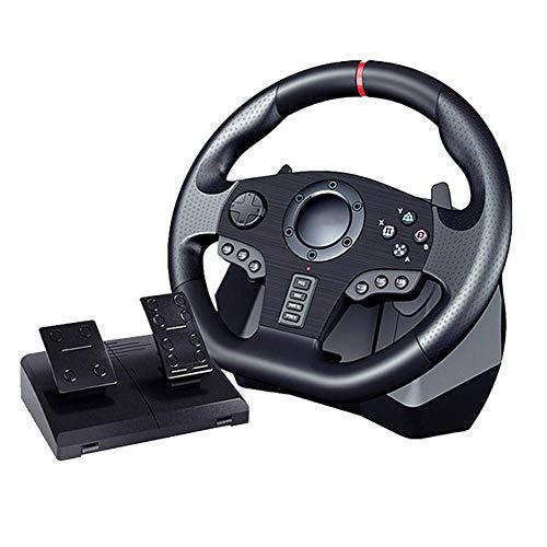 Volant De Course De Jeu, Volant De Force Motrice avec Pédales Au Sol, Retour De Force Réel, Contrôleur De Volant De Câble USB pour Nintendo Switch PC / PS3 / 4 / Xbox One