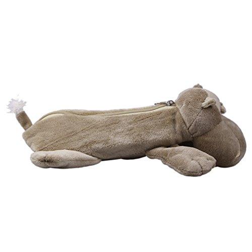 Bigood Trousse Maquillage Sac de Toilette Crayon Scolaire Peluche Animaux 25*15*7cm Hippo