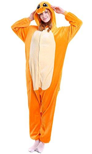 """Dolamen Adulto Unisexo Onesies Kigurumi Pijamas, Mujer Hombres Traje Disfraz Animal Pyjamas, Ropa de Dormir Halloween Cosplay Navidad Animales de Vestuario (Large (65""""-68.8""""), Charmander)"""