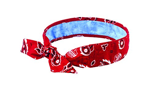 Cooling Bandana, Red Western, Lined with Evaporative PVA Material for Fast Cooling Relief, Tie for Adjustable Fit, Ergodyne 6700CT