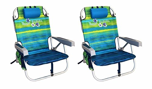 2 Tommy Bahama Backpack Cooler Chair with Storage Pouch and Towel Bar (Green/Blue Mix and Green/Blue Mix)