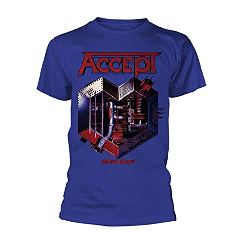 Accept Metal Heart Blue - Camiseta azul y negro L