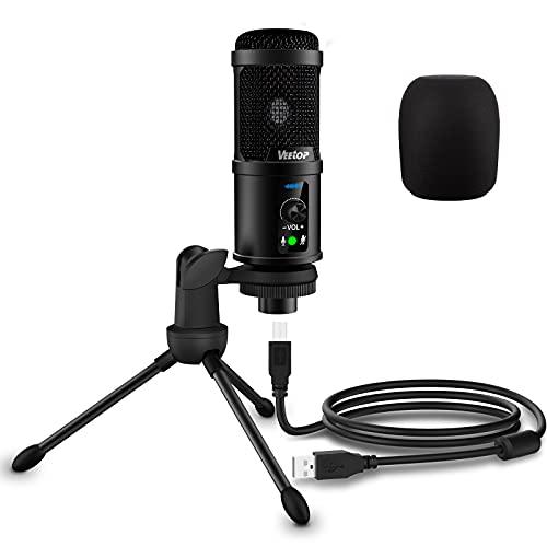Veetop Microfono pc Condensador, Microfono USB para Youtube Podcast Streaming Grabación Skype Twitch Zoom Compatible con PS4 PS5 Computadora Windows Mac