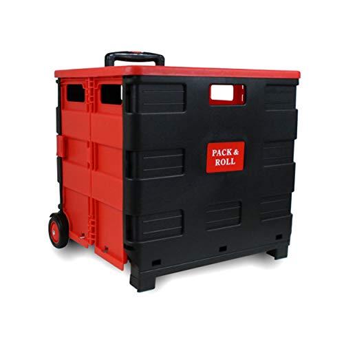 LANZZAS Einkaufstrolley Einkaufskorb Einkaufwagen Trolley Korb mit Rollen mit Deckel faltbar klappbar bis 35kg rot schwarz